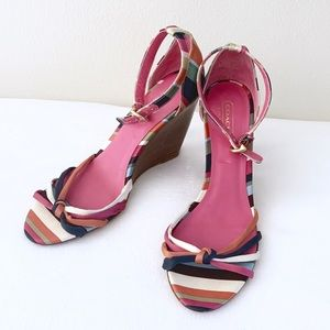 COACH | Rainbow Stripe Ankle Strap Wedge Sandals 7
